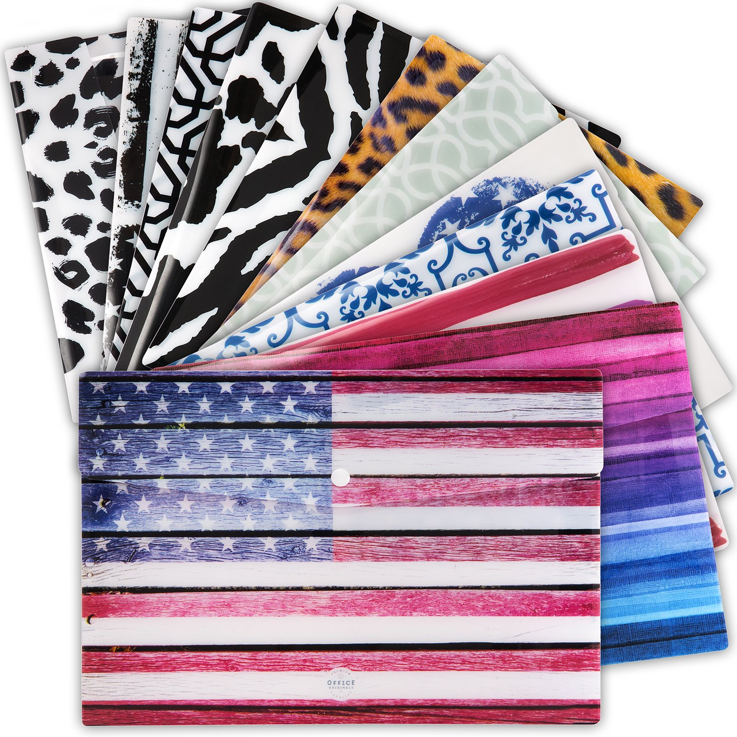 Filing Envelopes Poly Envelope Folder with Snap Button – Extra Durable – Set of 12 Plastic File Folders in Unique Designs