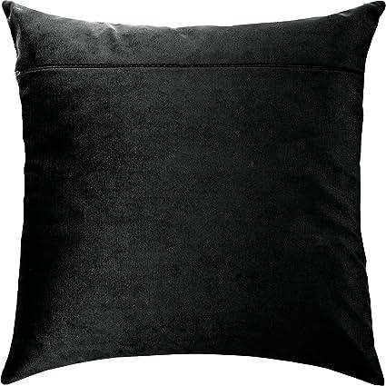 Dark Velvet Cushion Back 16 /× 16 inches from Europe Black with Zipper