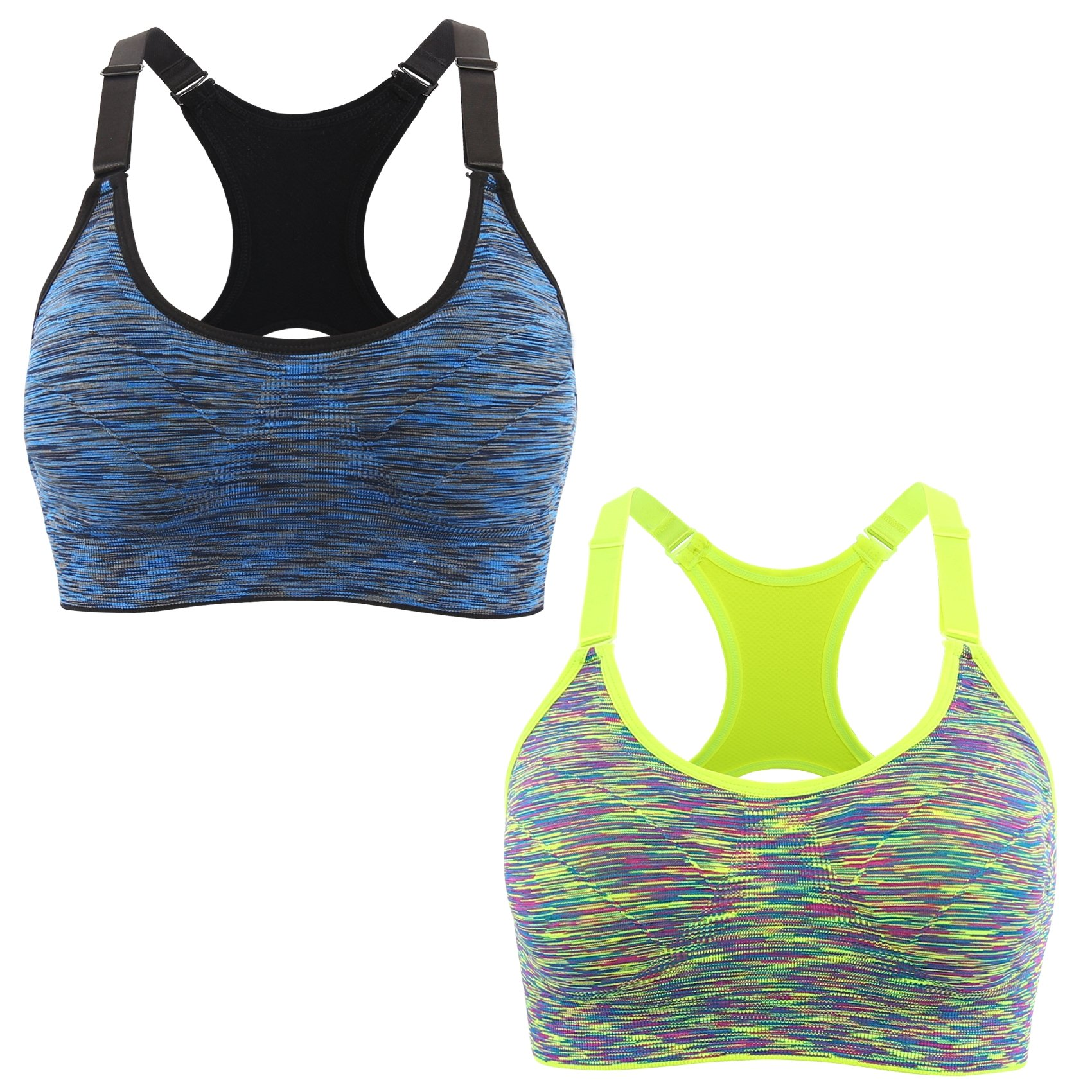 EMY Sports Bra 2 Pack Cami Space Dye Seamless Wirefree Stretchy Removable Pads for Fitness Gym Yoga Running (XL, 2 Pack-BL)
