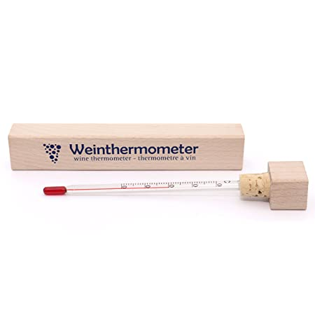 Lantelme 6273/wine thermometer in wooden case