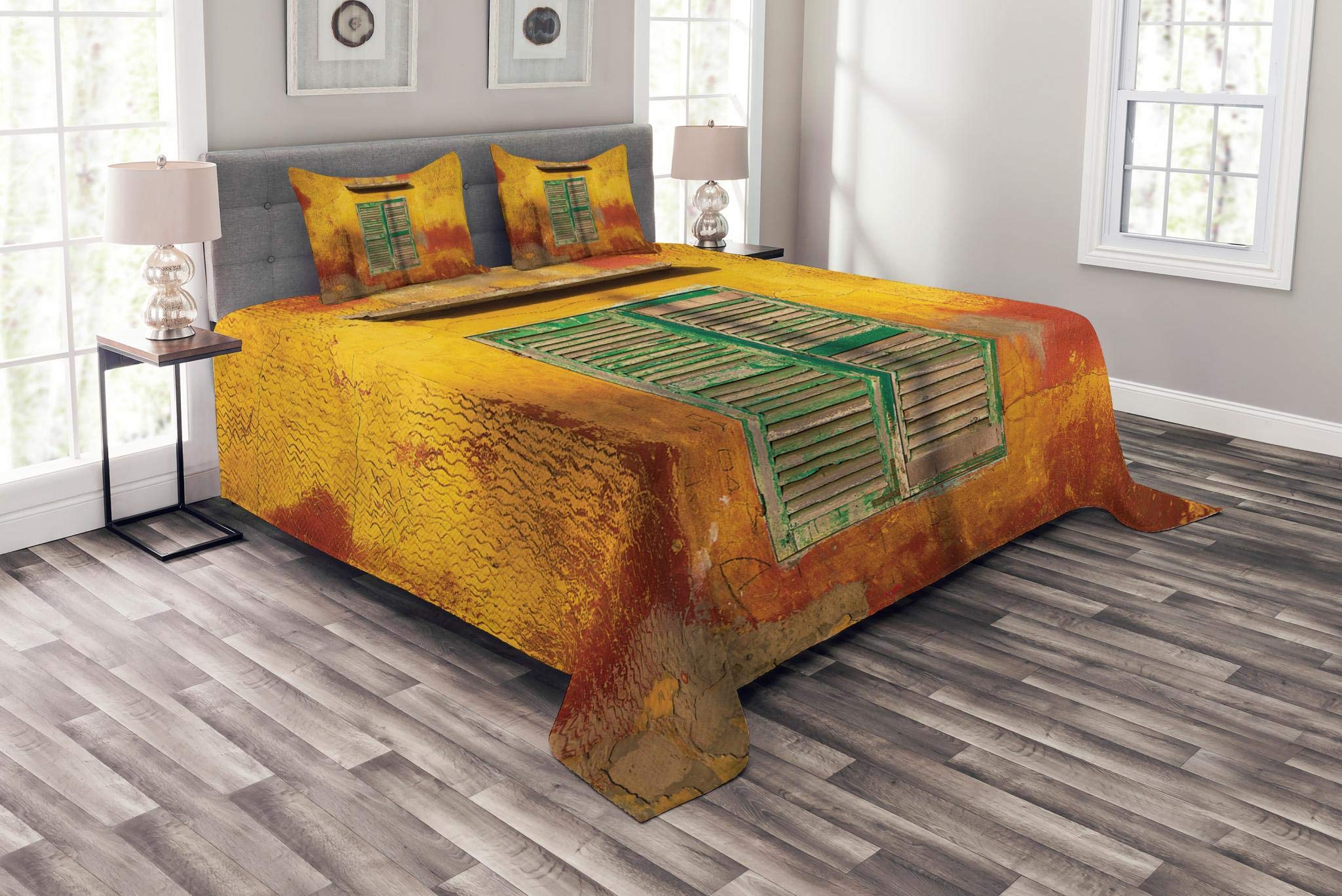 Lunarable Shutters Bedspread Set King Size, Wooden Window and Old Vintage Orange House in Saint Louis Senegal Classic Home, Decorative Quilted 3 Piece Coverlet Set with 2 Pillow Shams, Mustard Green