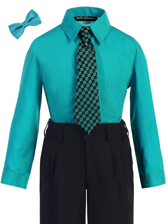 Bello Giovane Boys Turquoise Dress Shirt with Tie Set (Free Bow Tie)