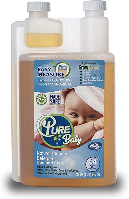 Pure Natural Laundry Detergent (Baby) 64 Loads, 100% Natural Baby Laundry Detergent for Sensitive Skin Free and Clear-Sensitive Skin Friendly-Hypoallergenic-Ingredients Listed on Label