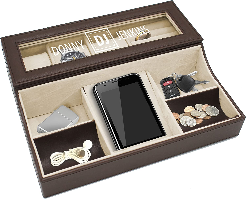 Amazon.com: Personalized Leather Valet Tray Box - Custom ...