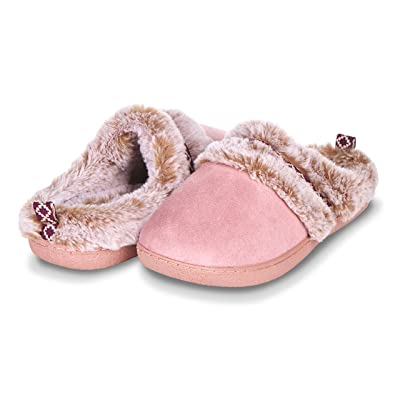 Floopi Indoor, Outdoor House Slippers for Women- Memory Foam Insole, Hard Rubber Outsole- Fur Lined Clog, Aztec Trim- Warm Winter Bedroom Mules- Home Slip Ons | Slippers