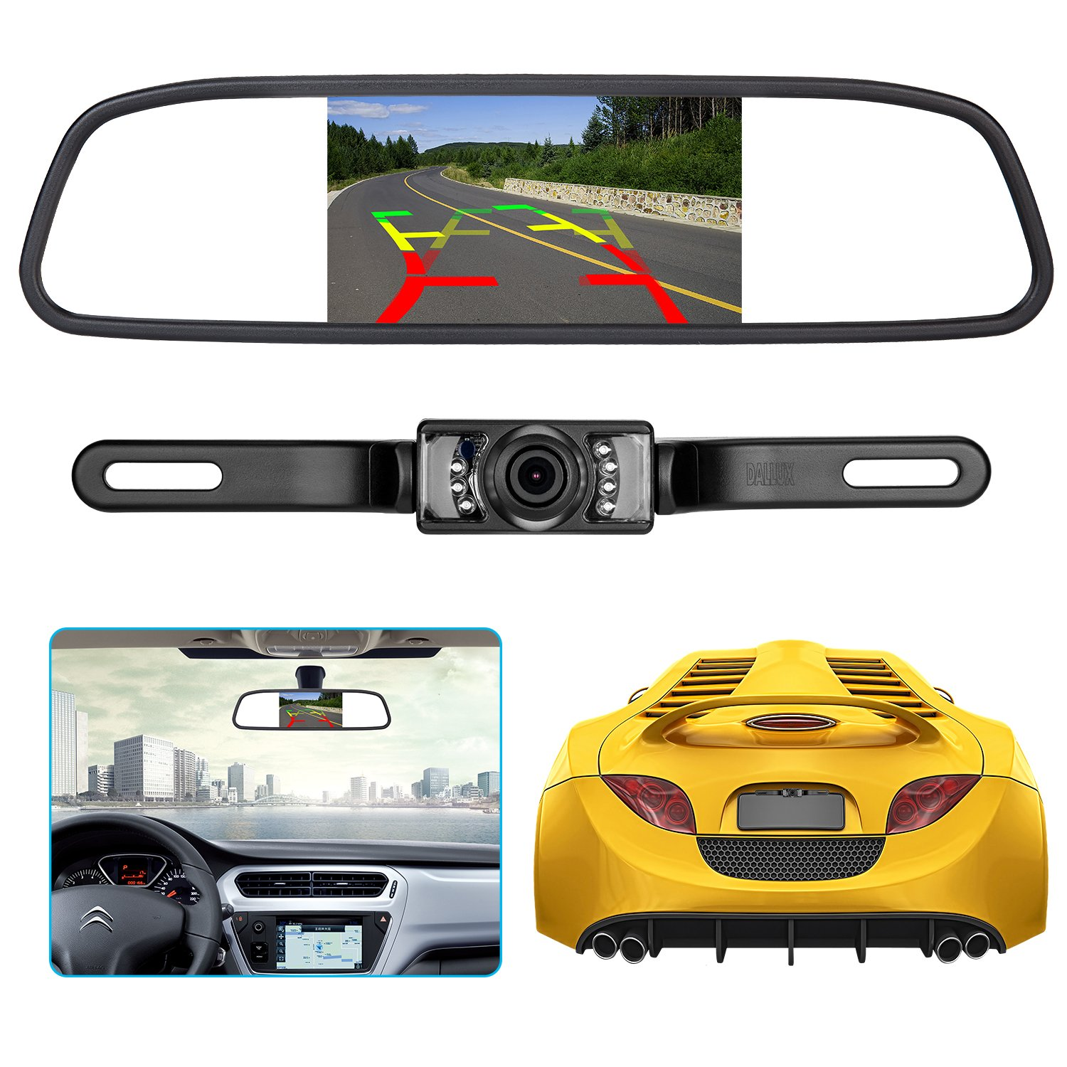 Backup Camera and Rearview Mirror LCD Monitor kit,Car License Plate Waterproof Night Vision Rear-View HD Car Reverse Rearview Camera + 4.3