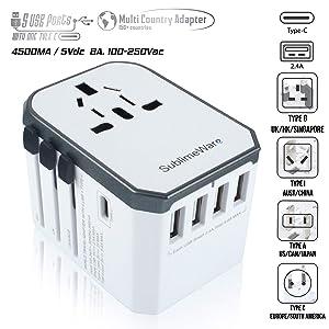 USB Type C Travel Power Plug Adapter (White Grey) - 5 USB Ports (4 USB Type A + 1 USB Type C) Wall Charger - for Type I C G A Outlets 110V 220V A/C - 5V D/C - EU Euro US UK - European Adaptor