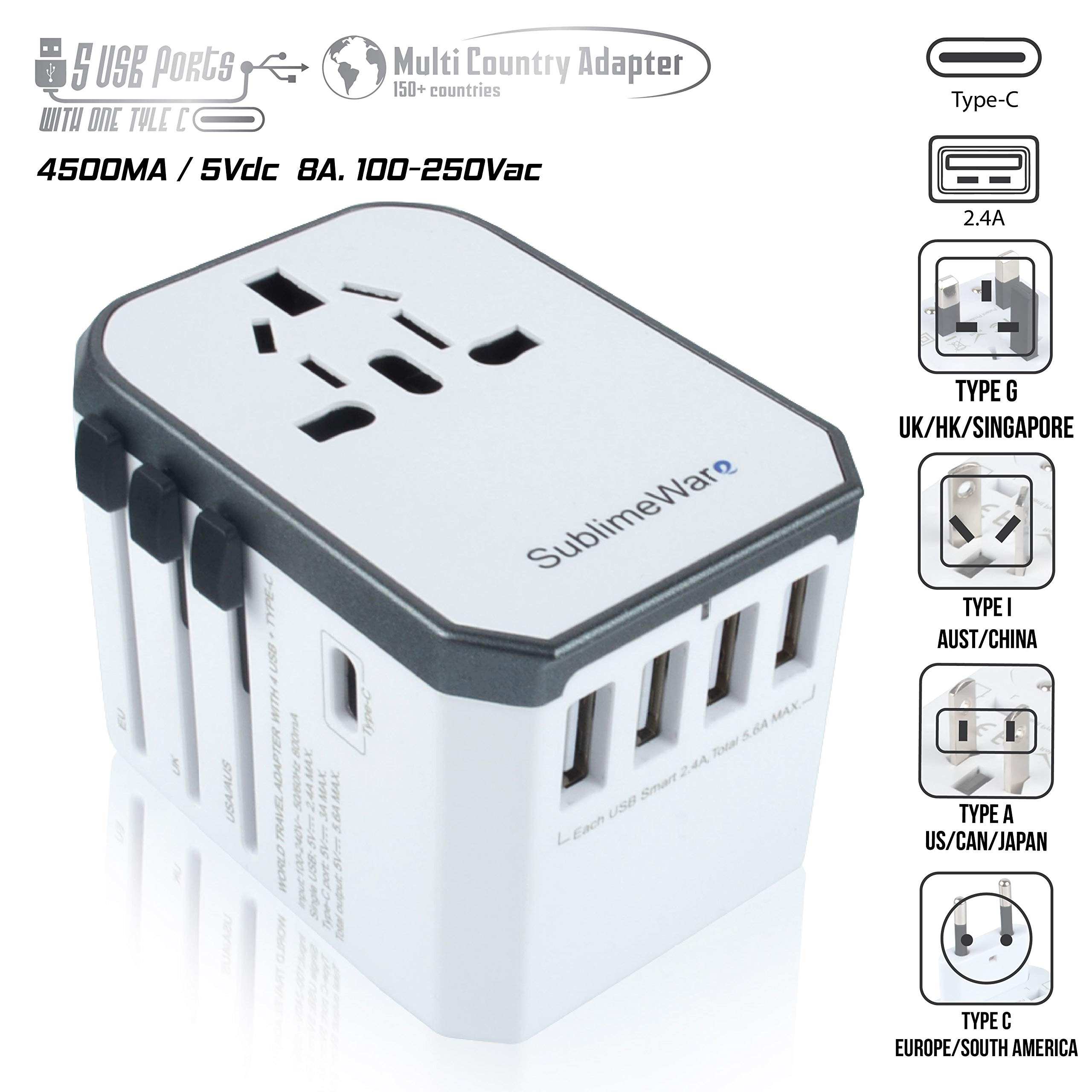 Power Plug Adapter - International Travel (w/5 USB Ports and USB Type C)- Work 150+ Countries - 220 Volt Adapter - Travel Adapter - Type C A G I A/C - UK Japan China EU Europe European