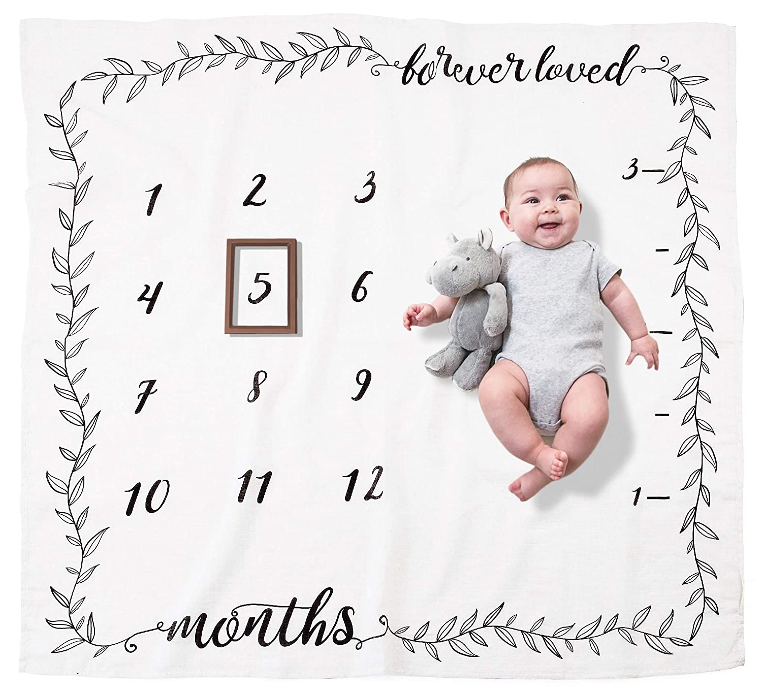 d6b06a63e Amazon.com: Organic Baby Monthly Milestone Blanket (Forever Loved) by  Pondering Pine | Girl or Boy Photography Background Prop | Newborn to 12  Months | Baby ...