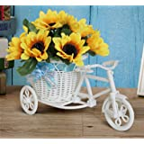 Tied Ribbons Cycle Shape Flower Vase With Sunflower Bunches