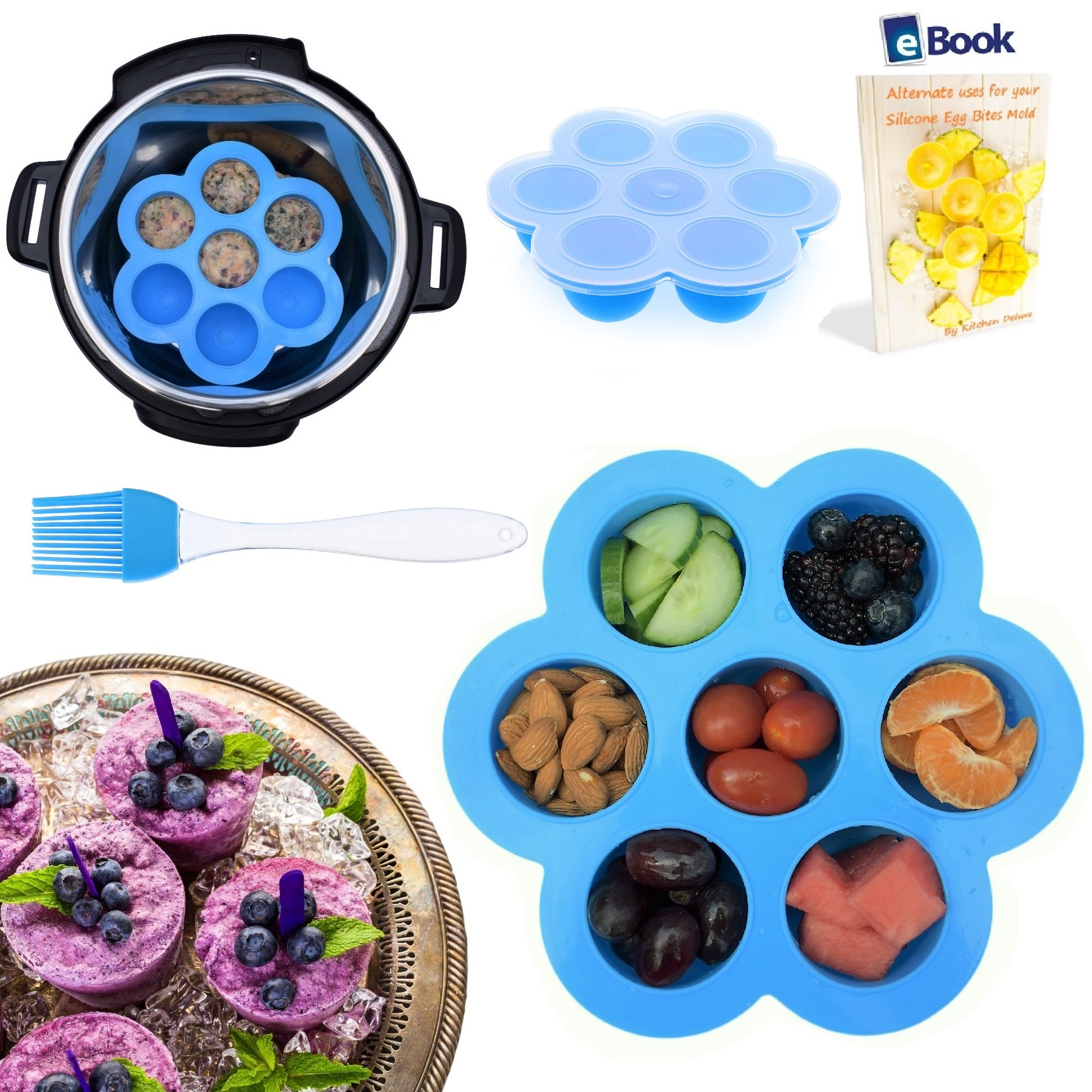 PREMIUM Silicone Egg Bites Molds - BEST Bundle - Fits Instant Pot Pressure Cooker 5,6 Qt & 8 Quart - BONUS Accessories - Pastry Brush + eBook | For Instapot, Baby Food |Storage Container |Freezer Tray