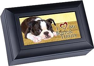 Cottage Garden Love My Boston Terrier Matte Black Jewelry Music Box Plays Wonderful World