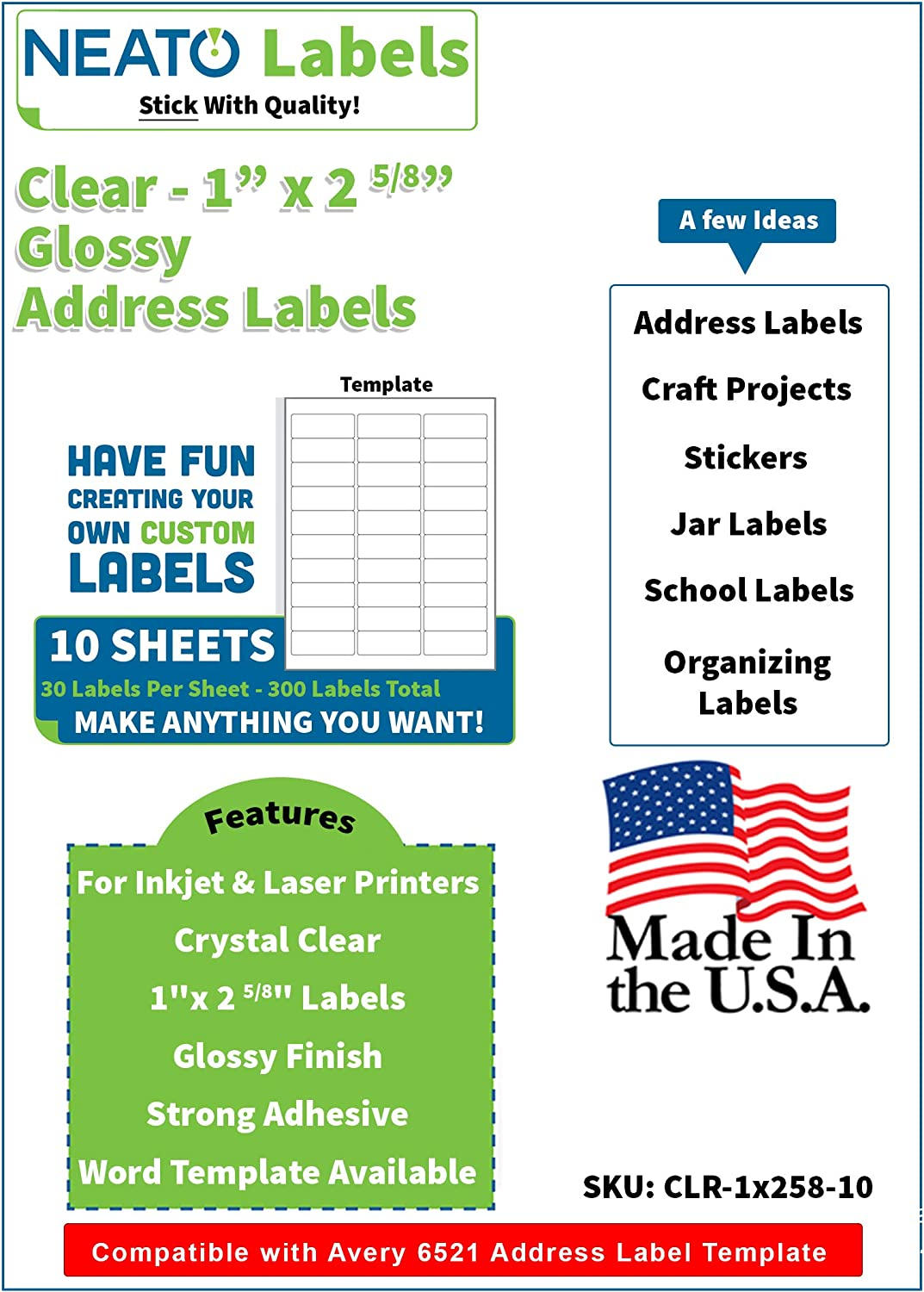 Clear Address Labels - Printable Glossy 1 x 2 5/8 Label Used for Mailing & Organizing - 30 Per Sheet- 300 Total Tear Resistant Personalized Print Envelope Labels for Inkjet & Laser Printers