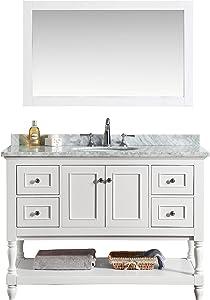 Ari Kitchen and Bath AKB-CAPE-48-WH Cape Cod Vanity Set with Mirror, 48