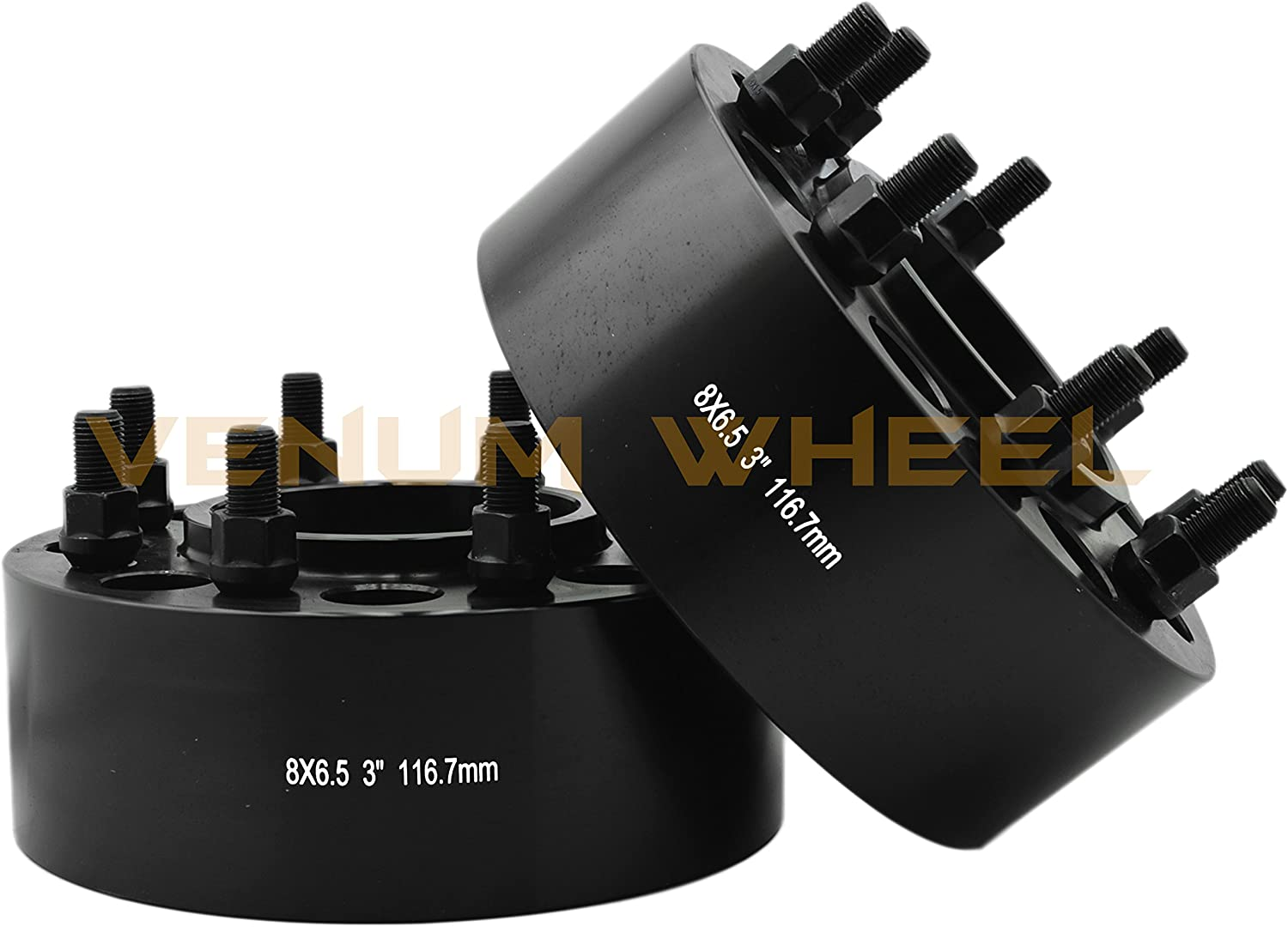 REAR ONLY Fits Silverado Sierra 1500HD 2500HD Heavy Duty 2 Pc 8x6.5 Black Hub Centric Wheel Spacers Adapters Designed For the