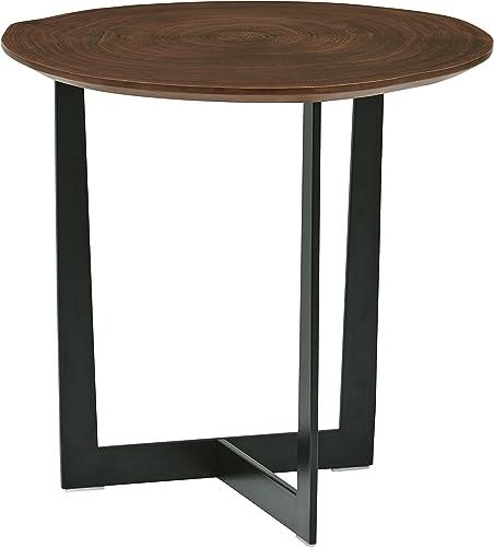 Amazon Brand Rivet Bristol Natural Edge Black Metal Side Table, Walnut