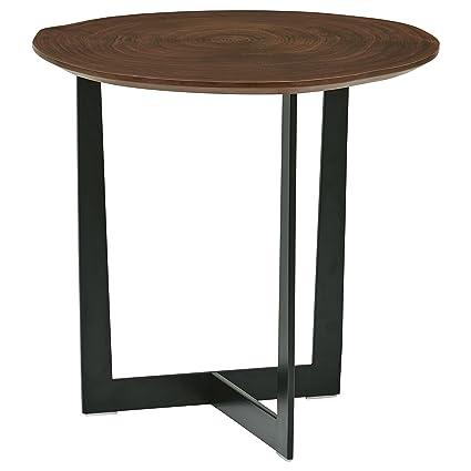 Natural edge furniture Unique Rivet Bristol Natural Edge Black Metal Side Table Walnut Amazoncom Amazoncom Rivet Bristol Natural Edge Black Metal Side Table