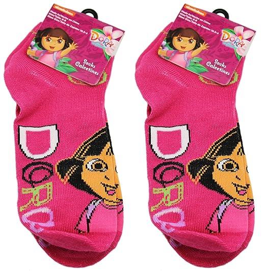 2 Pair Pink Dora the Explorer Socks (Size 6-8)