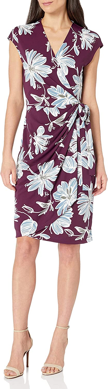 Amazon Brand - Lark & Ro Women's Classic Cap Sleeve V-Neck Compact Matte Jersey Wrap Dress