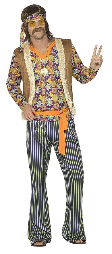 SmiffyS 44680S Disfraz De Cantante Hippie Años 60 Con Camiseta Para Hombre, Multicolor, S - Tamaño 34
