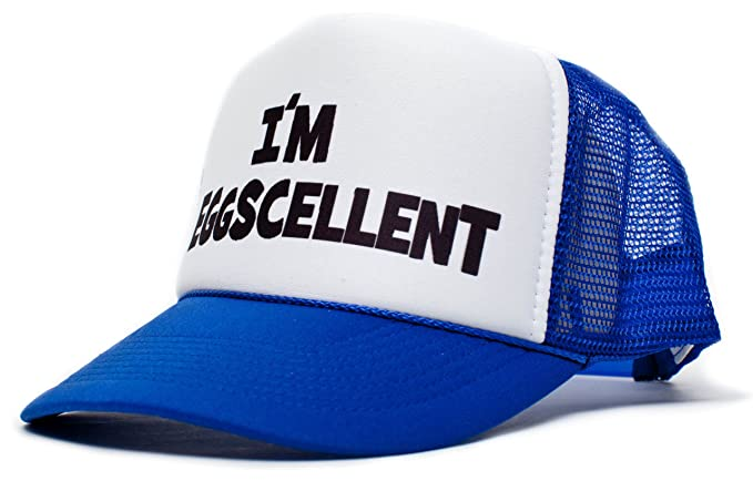 30ae553e9a4 Amazon.com  I m Eggscellent Unisex-Adult Trucker Hat -One-Size Royal ...