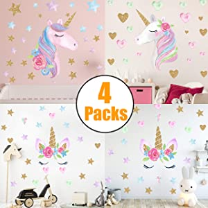 Unicorn Wall Decals, 4 Pack Unicorn Wall Sticker Decor for Unicorn Party Supply Birthday Christmas Gifts for Kids Bedroom Decor Nursery Room Home Decor (4Pcs)