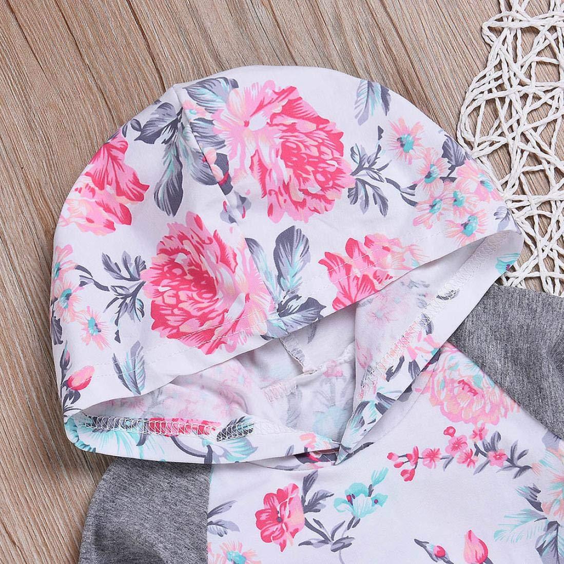 squarex Fantastic Baby Boy Girl Floral Tops Hoodie Pants Outfits 2Pcs Set Clothes