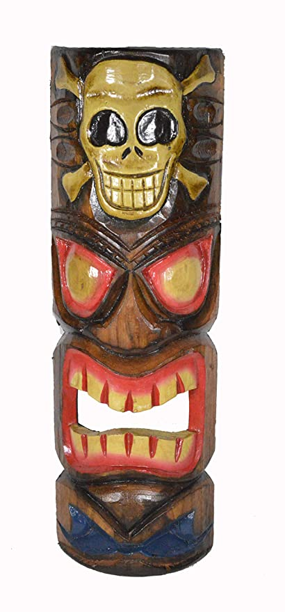 amazon com 20 hand carved flame tiki mask hawaiian polynesian wall