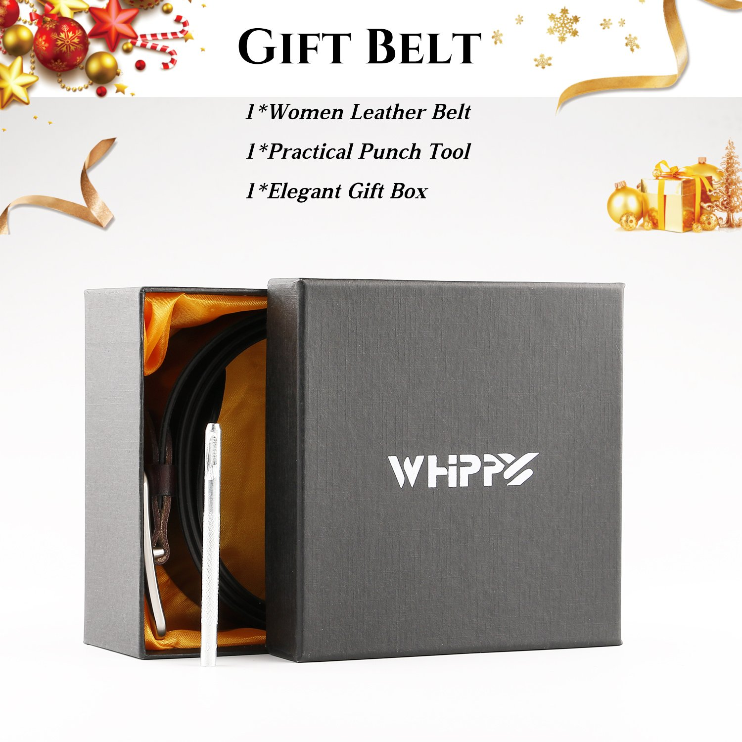 WHIPPY New Arrival Jeans Belt for Women Genuine Leather Belt with Pin Buckle, Black, 1.3''wide, Suit Pant Size 25''-29'' by Whippy (Image #6)