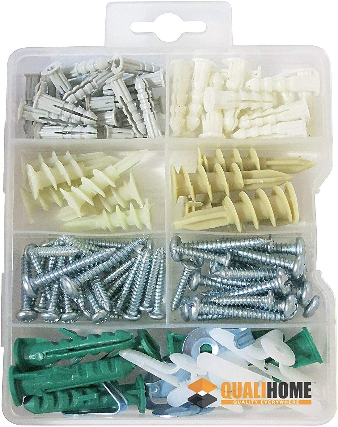 Wall Anchor Hooks Anchors Drywall and Hollow-Wall Anchor Assortment Kit Anchors with Screws-100Pcs, White and Hollow-Door Toggle Anchor for Drywall,Anchors Screws Drywall Anchor Kit