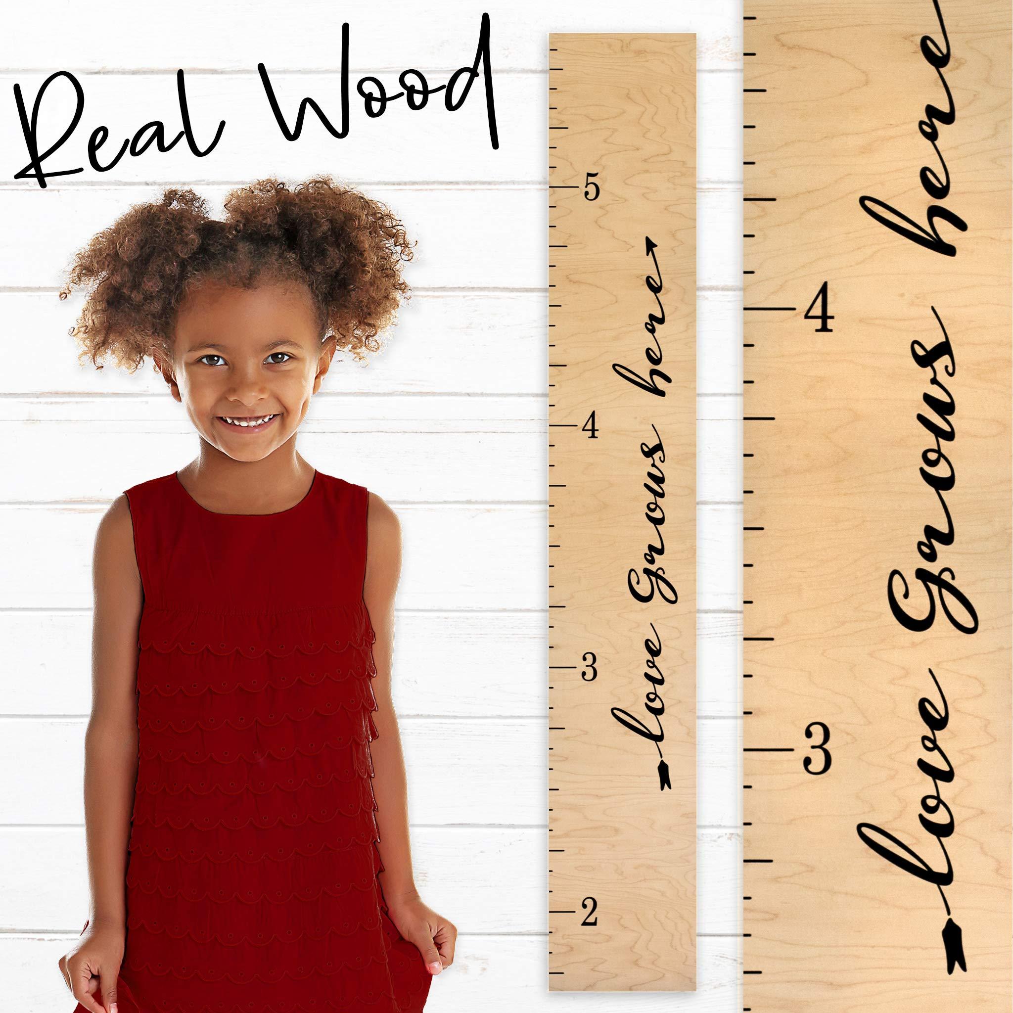Growth Chart Art | Wooden Height Chart Ruler Kids | Wall Growth Chart for Kids, Girls + Boys - ''Love Grows Here'' | Nursery Décor | Script Natural by Growth Chart Art