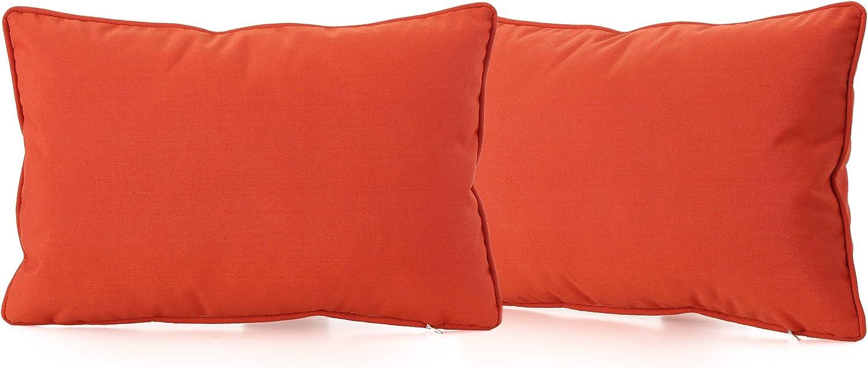 Christopher Knight Home Coronado Outdoor Rectangular Water Resistant Pillows, 2-Pcs Set, Orange