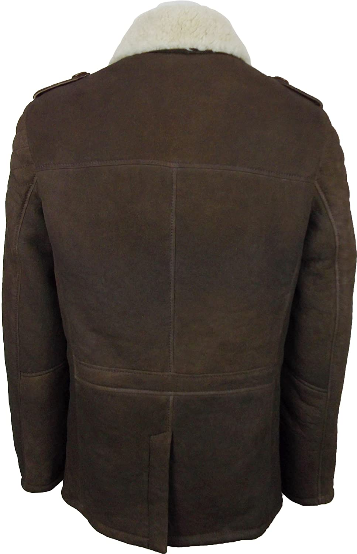 UNICORN Männer Echte Leder Jacke - Schafspelz Mantel - Reefer - Braun mit Braunem  Fell #DB - Größe 44: Amazon.de: Bekleidung