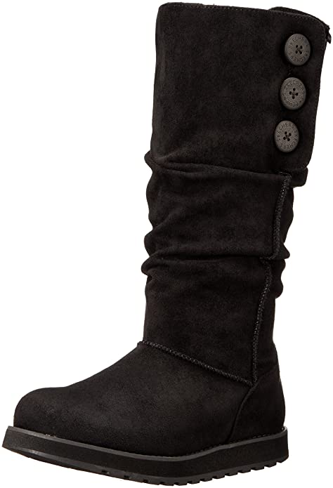 Skechers Women's Keepsakes-Big Button Slouch Tall Winter Boot, Black, 5 M US
