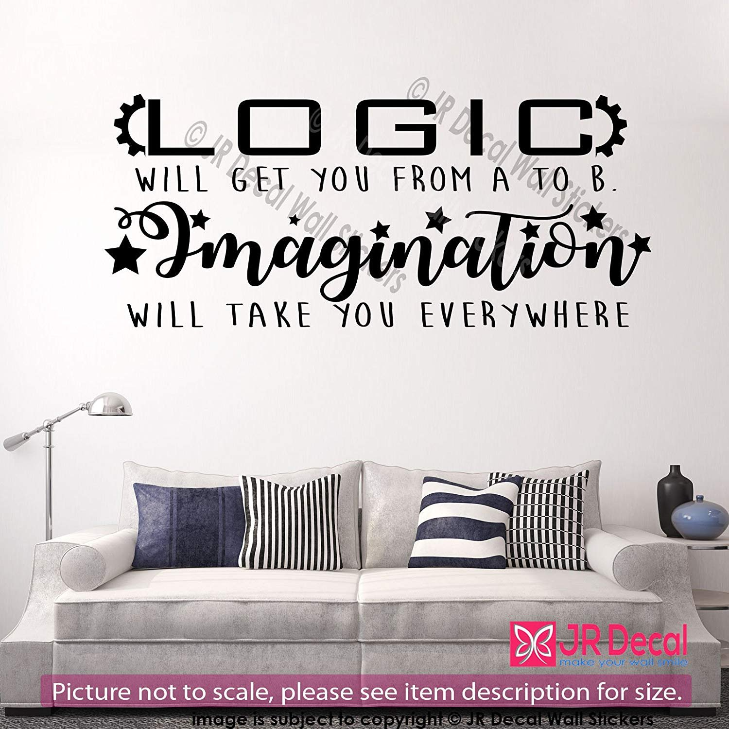 Logic Will Get You From A To B Imagination Will Take You Everywhere Inspiring Quote Of Life Removable Vinyl Wall Art Stickers Motivational Quotes Vinyl Wall Decals Nursery Office School