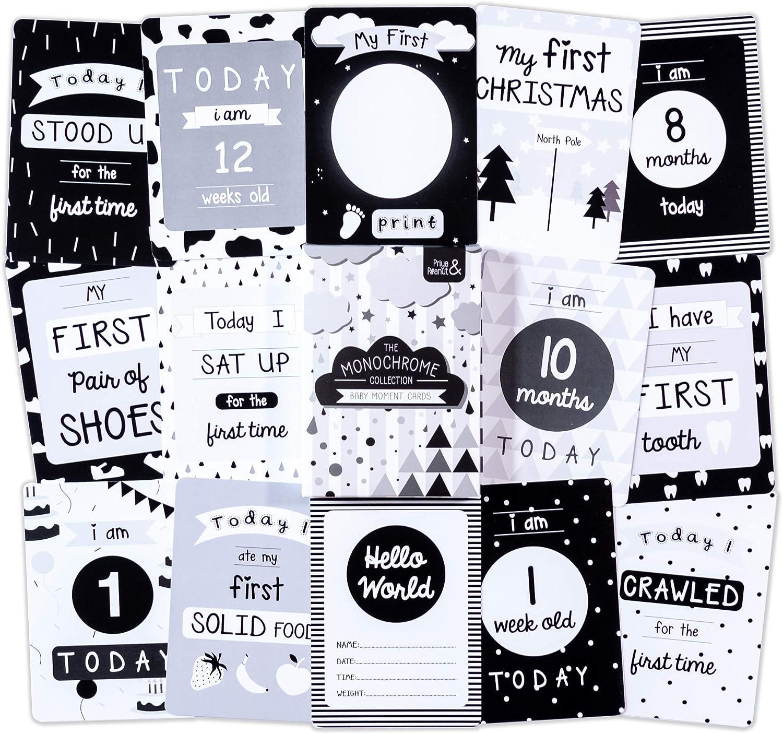 Paquete de 30 tarjetas monocromáticas para los primeros años del bebé, regalo perfecto para baby shower