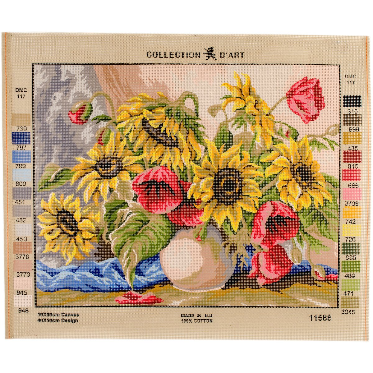 RTO Poppies & Sunflowers D'Art Needlepoint Printed Tapestry Canvas, 60 x 50cm 11588
