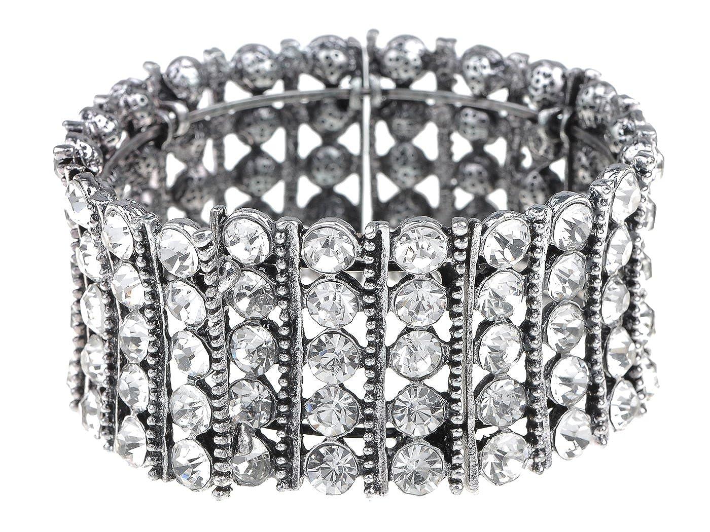 Alilang Classy Elegant Silver Tennis Rhinestone Bridal Crystal Jewelry Bangle Cuff Bracelet