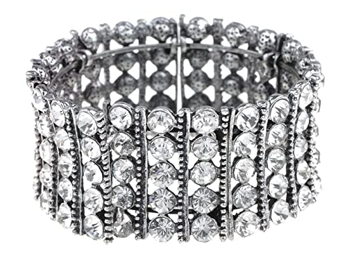Image Unavailable. Image not available for. Color  Alilang Classy Elegant  Silver Tennis Rhinestone Bridal Crystal Jewelry Bangle Cuff Bracelet 178cb4a006b0