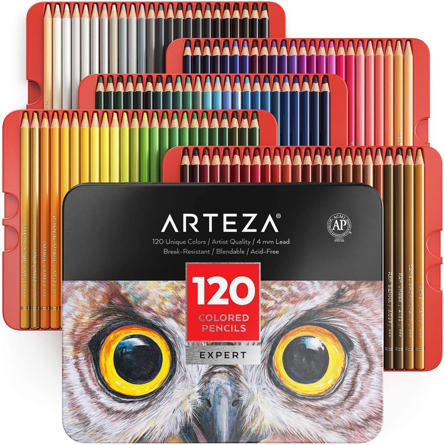 Arteza Professional Coloured Pencils for Adults /& Kids Shading for Colouring Set of 120 Drawing Break-Resistant Cores Portable Tin Case
