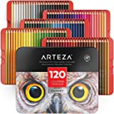 ARTEZA Colored Pencils, Professional Set of 120 Colors, Soft Wax-Based Cores, Ideal for Drawing Art, Sketching, Shading & Coloring, Vibrant Artist Pencils for Beginners & Pro Artists in Tin Box