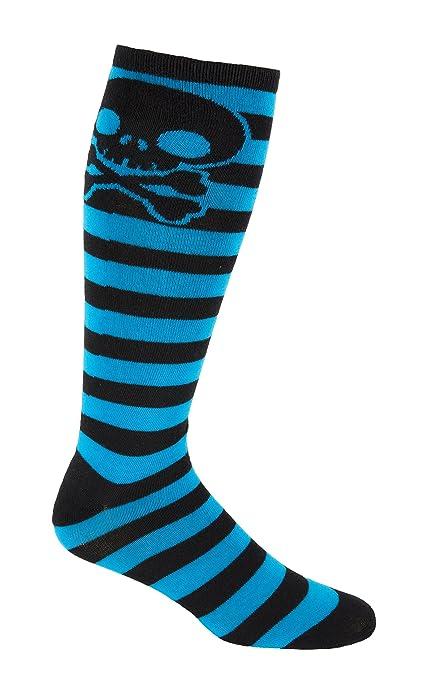 64c44b929ce MOXY Socks Skater Skull Knee-High Striped Deadlift Socks (Black Cobalt Blue)