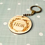 Personalized monogram wooden keychain, laser cut out keychain, olive wood keychain