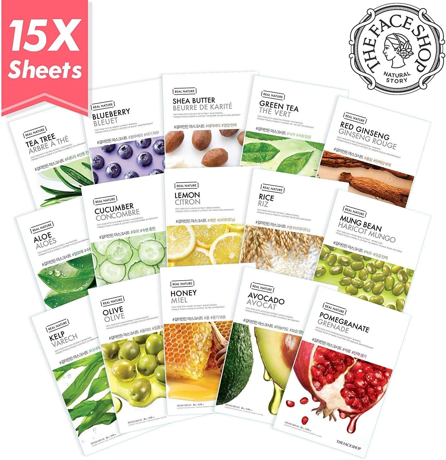 The Face Shop Facial Mask Sheets (15 Treatments), Real Nature Full Face Masks Peel Off Disposable Sheet (Pack of 15), Anti Aging Firming Moisturizing Essence: Amazon.es: Belleza