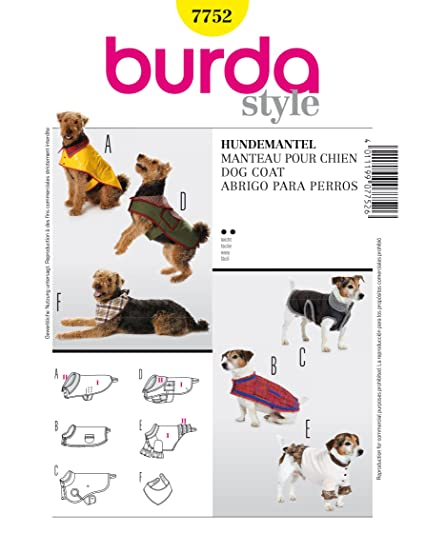 Burda Patrón 7752 Idea Creativa Abrigo para perro