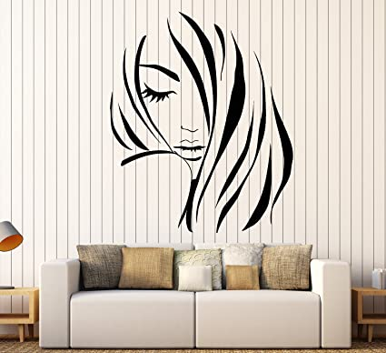 Vinyl Wall Decal Beauty Hair Salon Fashion Model Girl Hairdresser Stickers  Large Decor (1124ig) Black