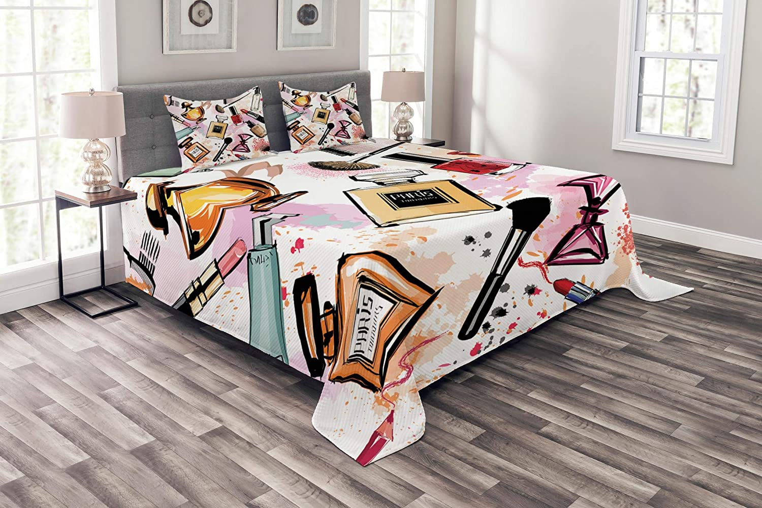 Ambesonne Fashion Bedspread, Cosmetic and Makeup Theme Pattern with Perfume Lipstick Nail Polish Brush Modern, Decorative Quilted 3 Piece Coverlet Set with 2 Pillow Shams, Queen Size, Coral White