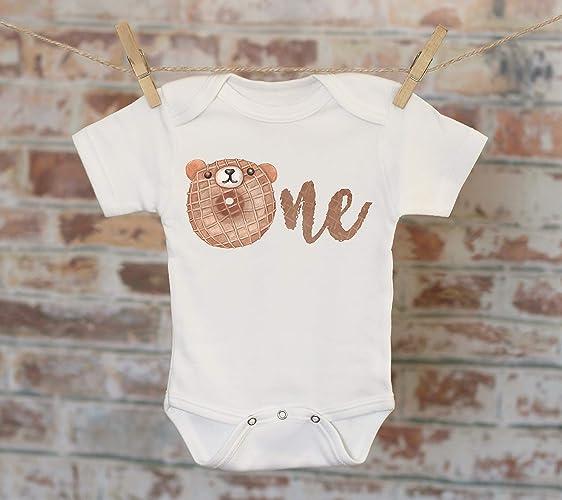 ded05bd3b Amazon.com: One Donut Bear Onesie®, First Birthday Onesie, Customized Onesie,  Cute Onesie, Bear Onesie, Boho Baby Onesie, Woodland Style Onesie: Handmade