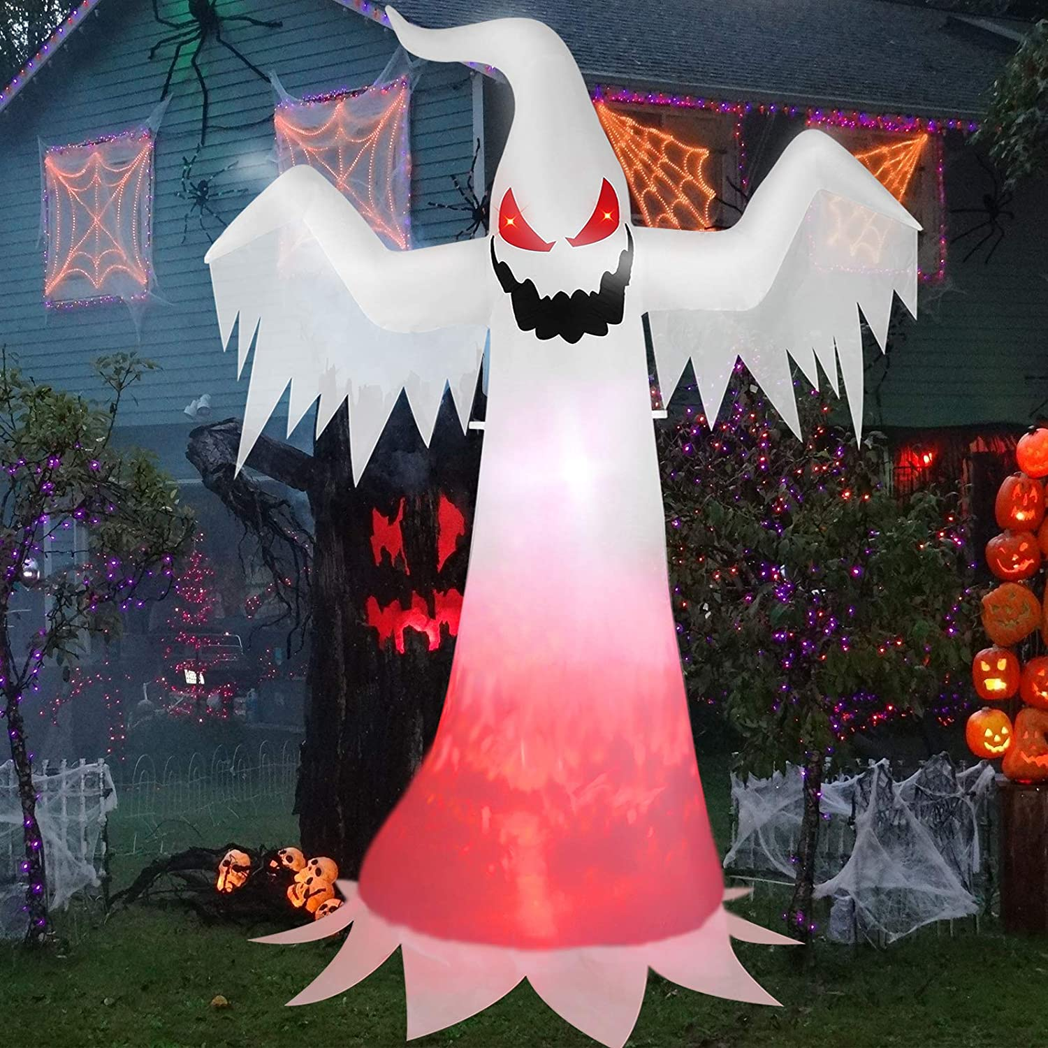 Halloween Inflatables White Ghost 8 Feet, Spooky Outdoor Decorations Blow up Ghost for Yard Patio Lawn Garden Home House Decor, IP44 Weather Proof, Creepy Ghost with Evil Soul, Burning Fire Flame
