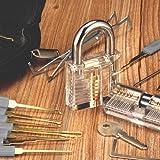 INNOCHEER Lockpicking Set: 24 Teiliges Dietrich Set mit 2 Transparentem übungsschloss in einer Ledertasche, Das perfekte Lock Pick Set für Anfänger und Profisrleicht und kleben daher auch problemlos zB im Rahmen.